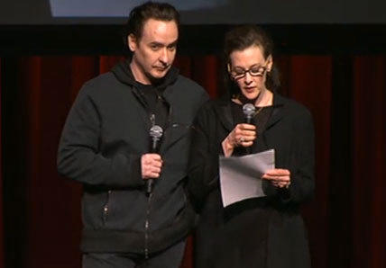John and Joan Cusack at Roger Ebert's memorial tribute at the Chicago Theatre Thursday night.