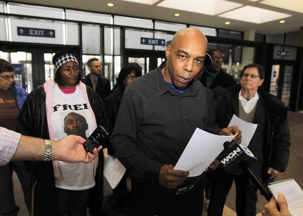 Mark Clements, an alleged victim of former Chicago police Cmdr. Jon Burge's detectives who was released from prison in 2009 after serving 28 years for murder, speaks to reporters Thursday at the Leighton Criminal Court Building in Chicago.