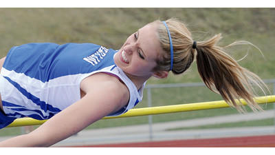 Berlin's Kaylin Dunn clears the high jump with a winning height of 4 feet, 9 inches during a track and field meet Thursday in Berlin. Dunn qualified for the District 5 meet with this victory.