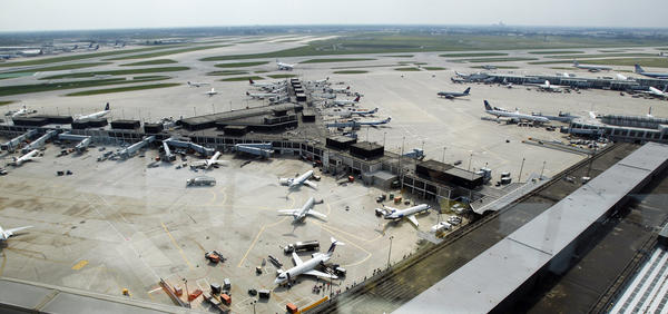 A view of Terminal 2 from the control tower at O'Hare International Airport.