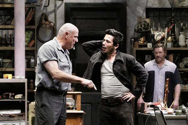 "Bill Smitrovich, left, Freddy Rodriguez and Ron Eldard in ""American Buffalo"" at the Geffen Playhouse in Westwood."