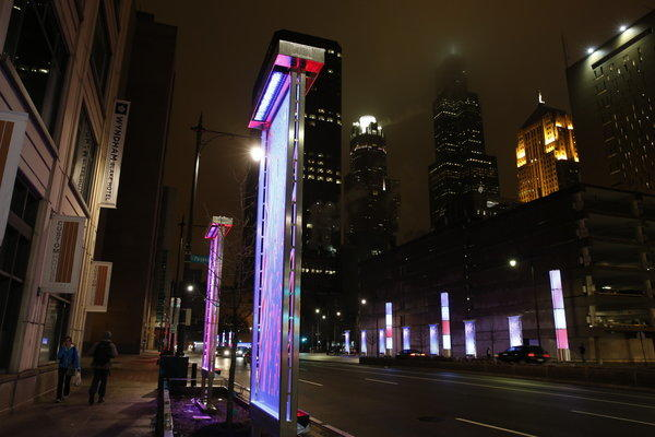 The Chicago Dept. of Transportation officially unveiled LED lighting fixtures along Congress Parkway in downtown Chicago, April 11, 2013.