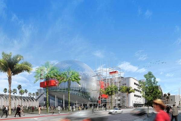 The current architectural rendering for the Academy of Motion Picture Arts and Sciences museum on Wilshire Boulevard, attached to the May Co. building