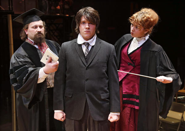 The cast of Spring Awakening includes, from left, Kevin Nilson, Paul Hoselton and Heather Kelsey.