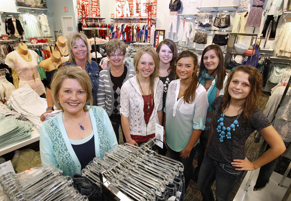 Mary Weber Carrels, front left, manager at Maurice's in the Lakewood Mall, with her staff. From the left are: Deb Anderson, Marcia Paul, Emma Johnson, Jenna Anderson, Tiahna Holtey, Merisa Weigel and Rachel Hagen. Not pictured is Shannen Maunu.