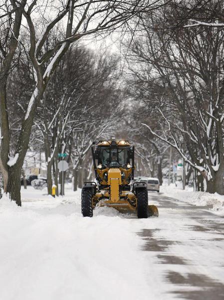 Aberdeen Public Works department employees were out plowing city streets Thursday, like this one in the 800 block of North Arch Street.