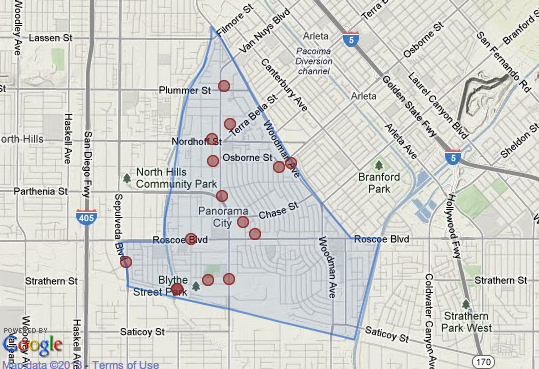 Map shows homicides reported in Panorama City since 2007.