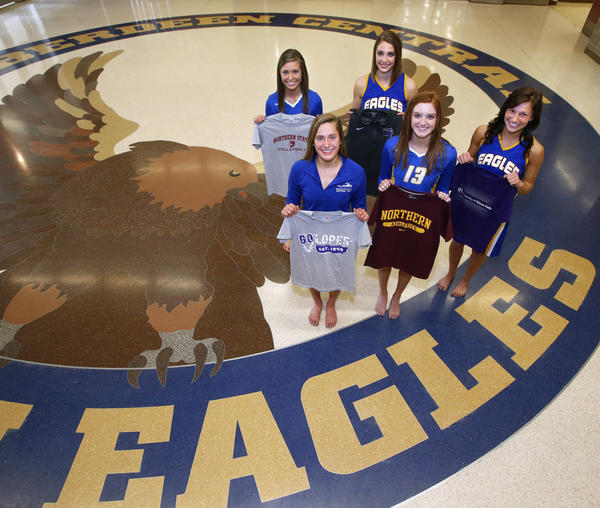 These five Aberdeen Central senior athletes will play Division II sports next season. From the left in the back are: Amanda Tobin and Samantha Knecht. In the front from the left are: Hannah Kastigar, Lauren McCafferty and Brynn Flakus. photo by john davis taken 4/10/2013