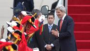 BEIJING -- Secretary of State John F. Kerry hinted at the possibility of dialogue with North Korea on the first leg of a sprint through East Asia that has been shadowed by threats from Pyongyang.