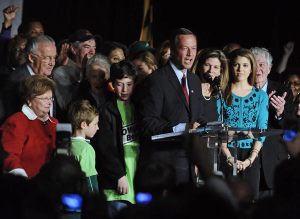 Maryland Gov. Martin O'Malley, center, gives his victory speech at the American Visionary Arts Museum in Baltimore after defeating Republican challenger Robert Ehrlich Jr., to win re-election for another term in office.