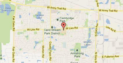 Map of Glenbard North High School in Carol Stream.