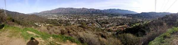 Panoramic photograph of view of Glendale, La Crescenta and the San Gabriel Mountains from the Verdugo Mountains in Glendale.