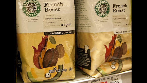 Starbucks coffee sits on a shelf at a grocery store in New York in a 2010 file photo.