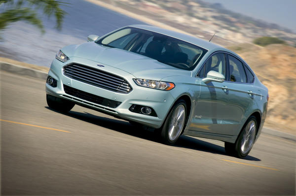 Sales of the new Ford Fusion hybrid, shown here in Santa Monica, helped Ford set a company hybrid sales record during the first quarter of 2013.