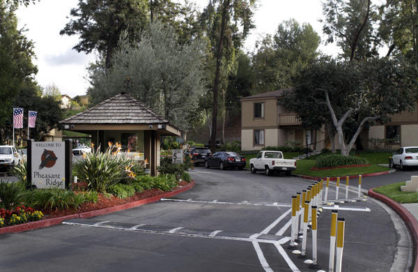 "The entrance to Pheasant Ridge apartments in Rowland Heights, a ""maternity hotel"" where Chinese women come to give birth in order to gain U.S. citizenship for their babies."