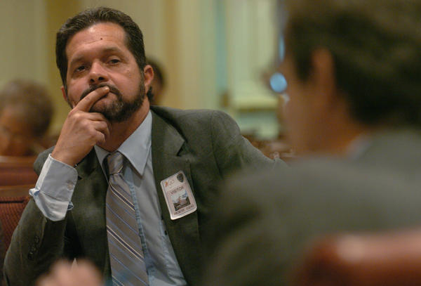 Joseph F. Steffen, Jr., former aide to Gov. Robert L. Ehrlich, listens to questions from Sen. Brian Frosh as Steffen testifies at a legislative committee hearing about hiring and firing practices in the Ehrlich administration.