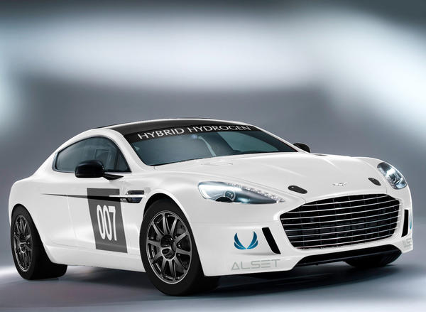 Aston Martin will bring this modified Rapide S to the 24 Hours of Nurburgring in May. The car can run on gasoline, gaseous hydrogen or a mixture of both.