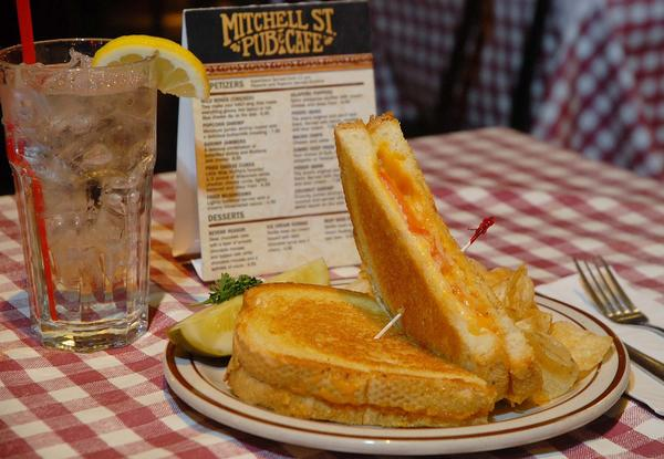 This grilled cheese sandwich from Mitchell St. Pub & Cafe was mentioned most often by local residents as the best grilled cheese sandwich. Ingredients include: ciabatta artisan bread, garlic butter, a blend of cheeses, onions and tomatoes.