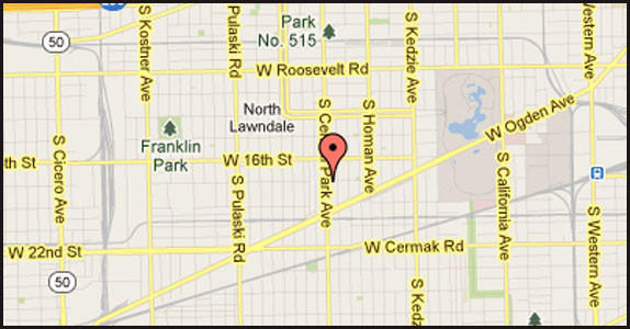 Map of location of where a vehicle struck a bus shelter and injured one person on the West Side.
