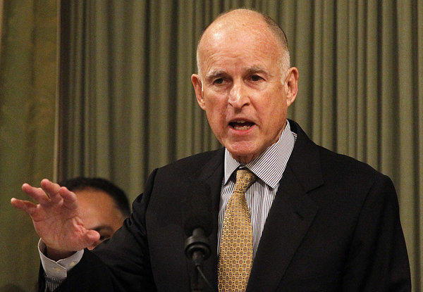 California Gov. Jerry Brown delivers his State of the State address at the Capitol in January. The governor's office submitted a proposal late Thursday to further reduce crowding in the state's prisons.