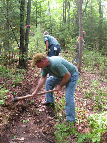 Volunteers annually help Little Traverse Conservancy make trail improvments at local land preserves during organized work bees.