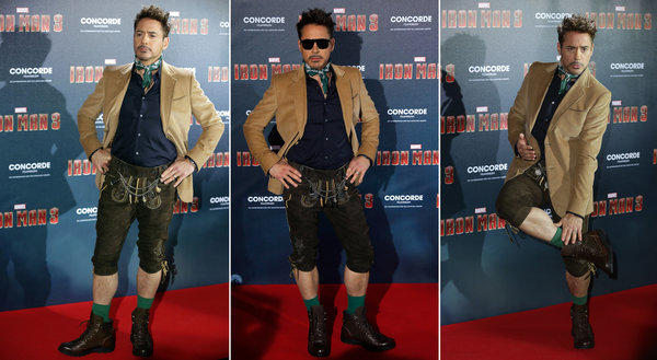 "Robert Downey Jr. wears lederhosen at the ""Iron Man 3"" premiere in Munich."