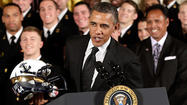 President Barack Obama awarded Navy's football team with the Commander-In-Chief's Trophy on Thursday afternoon in the East Room at the White House.