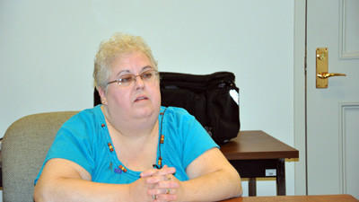 Tracey Cook, coordinator of the Crime Victims Compensation program, talks about new equipment for Somerset Hospital that will assist in forensic rape exams.