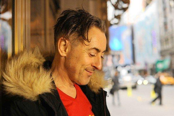 "Actor Alan Cumming outside the Broadway theater where he is playing 15 parts in ""Macbeth"" in Manhattan, NY."