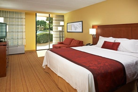 A king-sized bedroom in the newly opened Hotel MdR Marina del Rey, a DoubleTree Hotel.