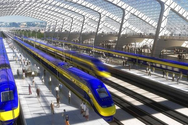 An illustration provided by the California High Speed Rail Authority shows proposed bullet trains arriving at a station.