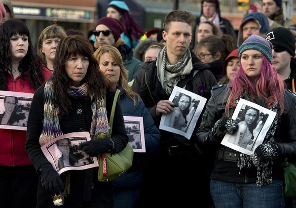 Several hundred people attend a community vigil to remember Rehtaeh Parsons at Victoria Park in Halifax, Nova Scotia.