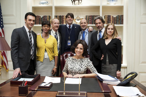 "HBO's ""Veep"" cast members include Julia Louis-Dreyfus, center, Reid Scott, from left, Sufe Bradshaw, Matt Walsh, Timothy C. Simons, Tony Hale, Gary Cole, Anna Chlumsky. (Lacey Terrell/Courtesy HBO/MCT)"