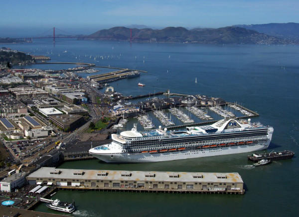 The Grand Princess at Pier 35 in San Francisco, its new home port.