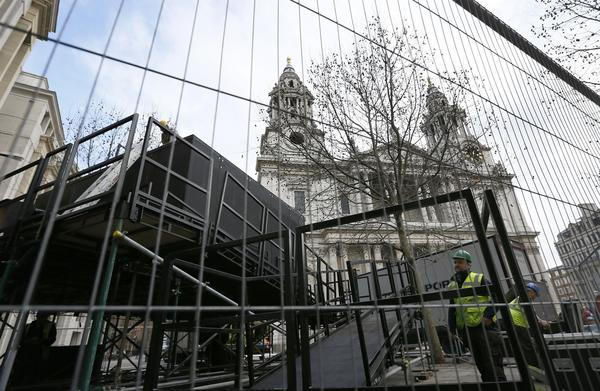 A platform for the media is being constructed outside St. Paul's Cathedral in London in preparation for Wednesday's funeral for former British Prime Minister Margaret Thatcher.