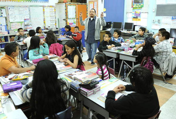 The number of people interested in becoming teachers continues to drop in the state. Several factors, including reliance on standardized testing, are to blame, says the president of the California Teachers Assn. (Wally Skalij/Los Angeles Times)