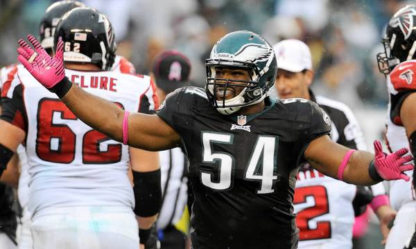 Philadelphia Eagles defensive end Brandon Graham (54) celebrates a sack against the Atlanta Falcons at Lincoln Financial Field in Philadelphia on Sunday, October 28, 2012.
