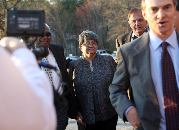Former Atlanta Public Schools Superintendent Beverly Hall arrives at the Fulton County Jail on Tuesday, April 2, 2013, in Atlanta, Georgia.