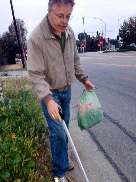 Hans Svanoe, a corporate butler who was gaining weight on a job that required little more activity than making an occasional cup of coffee, took up walking. He then took up litter retrieval. He now fills two to three bags a day with trash collected along the Orange Line busway in Encino.