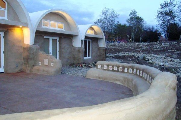The patio of the Whole Earth Building in Claremont. The building was constructed mostly with on-site materials.