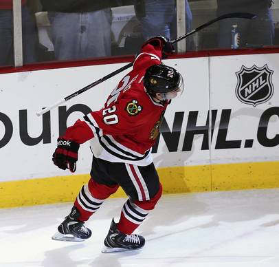 Brandon Saad celebrates after scoring in the shootout against the Red Wing