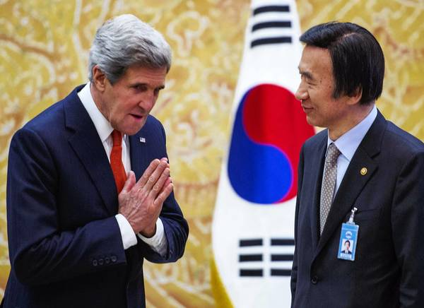 U.S. Secretary of State John F. Kerry greets his South Korean counterpart, Yun Byung-se, in Seoul. Kerry later traveled to Beijing. Both visits are focused on how to respond to North Korea's recent threats.