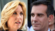 Los Angeles mayoral candidate Eric Garcetti has edged ahead of opponent Wendy Greuel in fund-raising for the May 21 runoff contest, raising $1.27 million during the 4 1/2 weeks that followed the March 5 primary election.