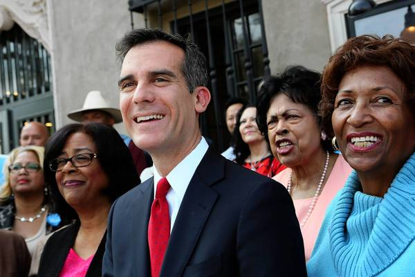 L.A. City Councilman Eric Garcetti was among four council members who did not attend Friday's meeting. (A fifth council seat is currently unfilled.) The mayoral candidate has missed 10 of the council's last 12 meetings since he came in first in the March 5 primary election, according to Ed Johnson, spokesman for Council President Herb Wesson.