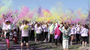 "<span style=""font-size: medium;"">Hundreds of runners got showered from head to toe with neon colors on Saturday, April 13, in what has been called America's 'funnest' 5K race.</span>"