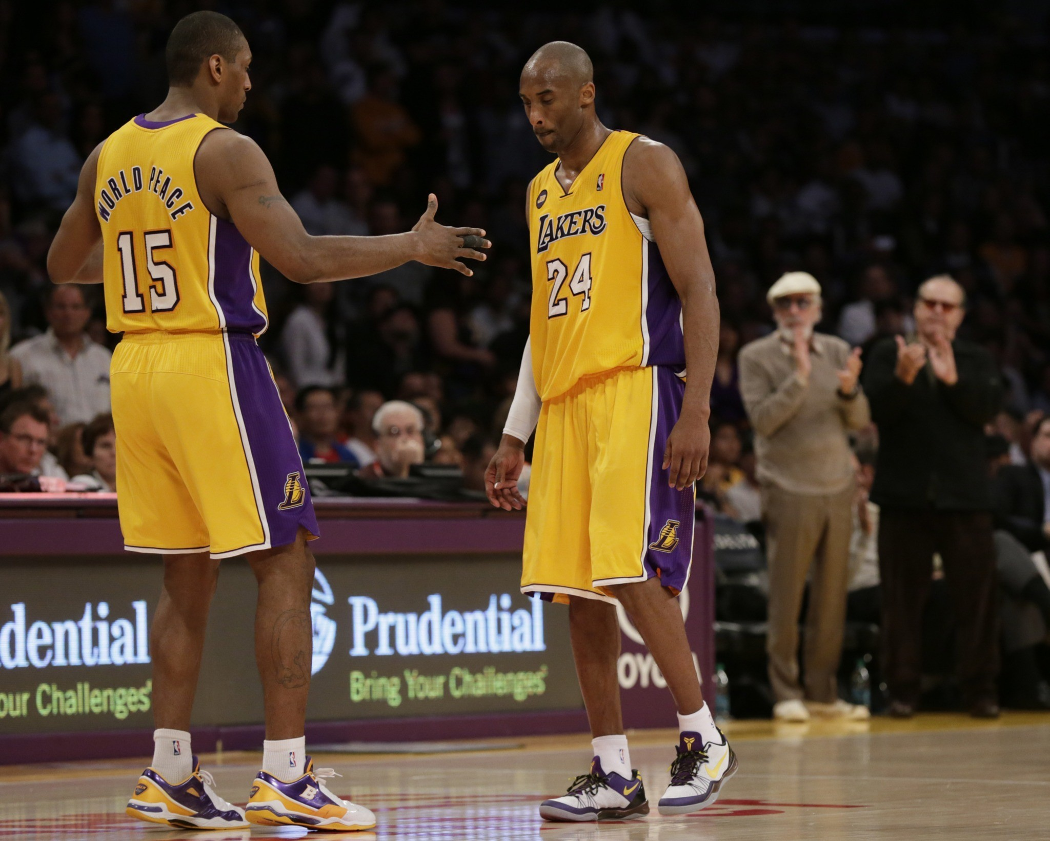 Lakers vs. Golden State Warriors - Metta World Peace, Kobe Bryant