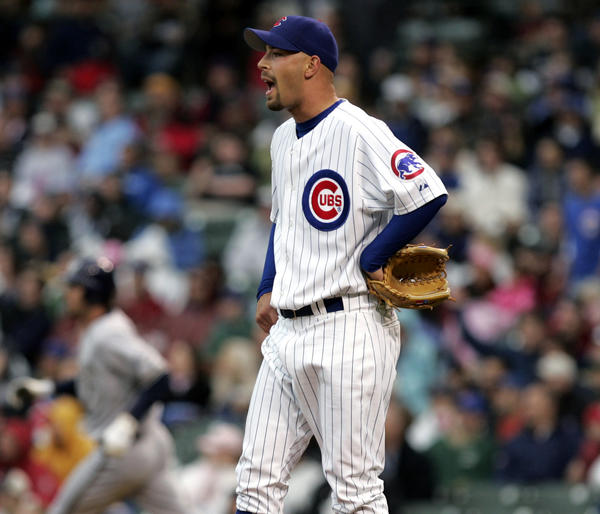 Chicago Tribune Photo by Scott Strazzante April 29, 2006 Chicago Cubs David Aardsma reacts to Milwaukee Brewers JJ Hardy's 5th inning home run Saturday at Wrigley Field in Chicago. ..OUTSIDE TRIBUNE CO.- NO MAGS, NO SALES, NO INTERNET, NO TV.. Chicago Tribune Photo by Scott Strazzante 00259315B Cub0429 ORG XMIT: CHI0604291506362186