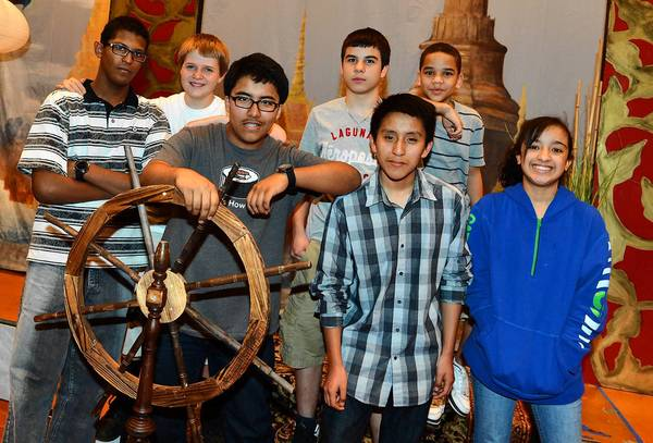 """Trexler Middle School's stage crew shows off repurposed props that will be used for the school's production of the """"King and I."""""""