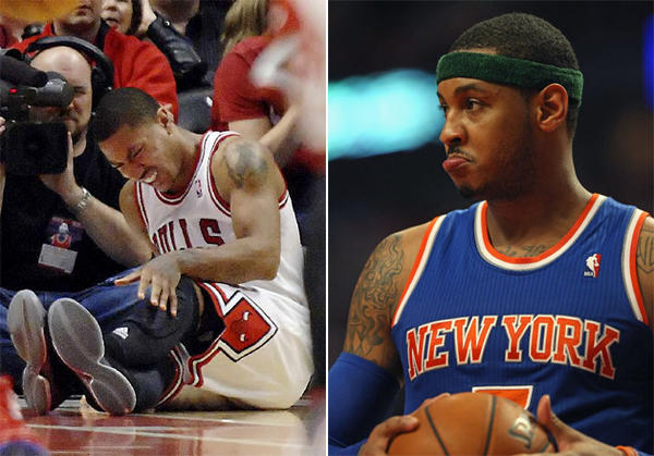 New York Knicks forward Carmelo Anthony, right, doesn't think Derrick Rose should be rushed back following knee surgery.