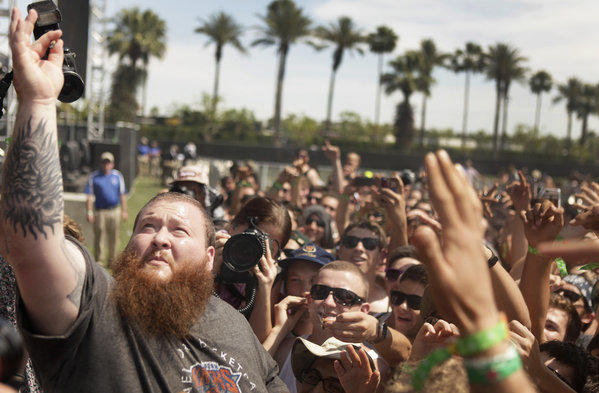 Action Bronson performs Saturday at the 14th annual Coachella Valley Music and Arts Festival in Indio.